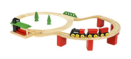 BRIO World 33424 - Classic Deluxe Railway Set - 25 Piece Wood Train Set with Accessories and Wooden...