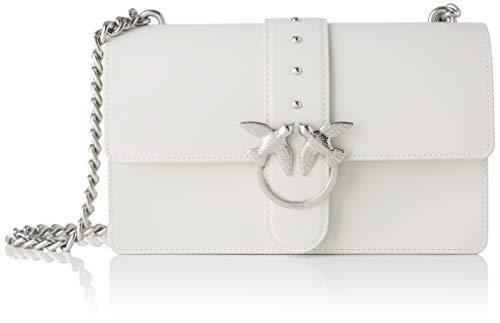 Pinko Love Classic Simply C Vitello, Borsa a Tracolla Donna, Bianco, 7.5x16.5x27 cm (W x H x L)