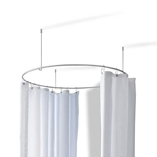 PHOS Design, DR900, runde Duschvorhangstange aus Edelstahl, matt, Kreis Durchmesser 90 cm, inkl. 3 Deckenabhängungen, runde Duschstange, Duschring, kreisförmige Duschstange, Ringstange, freihängend