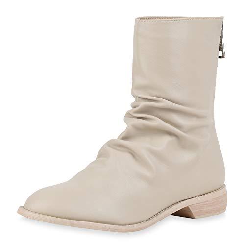 SCARPE VITA Damen Klassische Stiefeletten Leder-Optik Stiefel Slouch Boots Schuhe Holzoptik Blockabsatz Zipper 186373 Beige 40