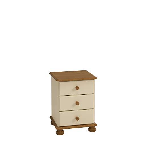 Non Branded 10220346 - Mesilla con tres cajones y patas redondeadas, color crema