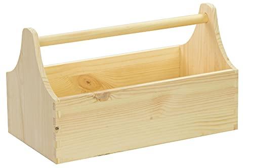 LAUBLUST Große Werkzeugkiste mit Griff - 34 x 18 x 20 cm, Natur, FSC®   Aufbewahrungs-Kiste aus Holz   Geschenkverpackung   Blumen-Kasten   Dekobox   Bastel-Kasten   Spielzeugtrage   Flaschen-Korb