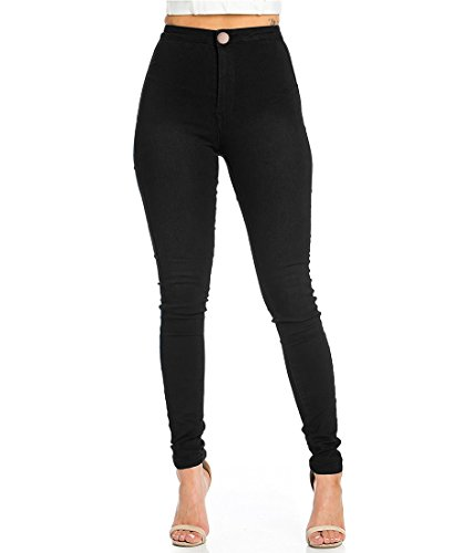 JYONE Jeans Damen, Skinny Jeans Damen High Waist Slim Leggings Röhrenjeans Bleistifthose Bleistift Hose-Schwarz-S