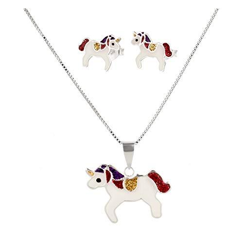 Colgante con Cadena y Pendientes Infantiles de Cristal de Unicornio de Plata de Ley 925 en Estuche de joyer/ía FIVE-D
