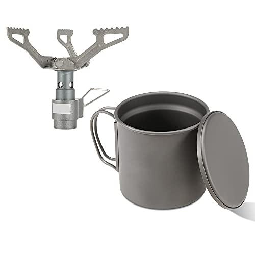 Taza de 335 ml de doble pared aislada taza de agua taza de té taza de café con mini bolsillo plegable Camping estufa de gas quemador camping