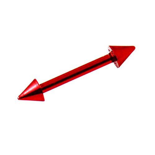 16 Gauge - 8MM Länge Neon rot eloxiertem 316L chirurgischer Stahl gerade Barbell mit Kegel Augenbrauen Piercing Bar