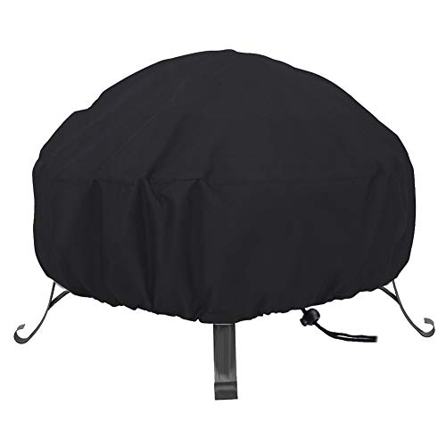 Rehomy Outdoor Fire Pit Protective Cover Waterproof Windproof Round Fire Pit Oxford Cloth Furniture Protective Cover