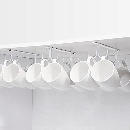 PPuujia Soporte para taza debajo del gabinete, soporte para taza de café, gancho para taza debajo del estante, gancho para colgar taza de secado para mostrar en barra y cocina blanco (color: blanco)