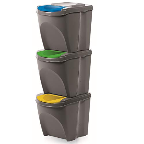 Mülleimern Sorti Box Mülltonne Müllsäcke Abfall Segregation (Grauer Stein, 3 x 20 L)