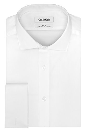 Calvin Klein Men's Dress Shirt Slim Fit Non Iron Solid French Cuff, White, 16' Neck 32'-33' Sleeve (Large)
