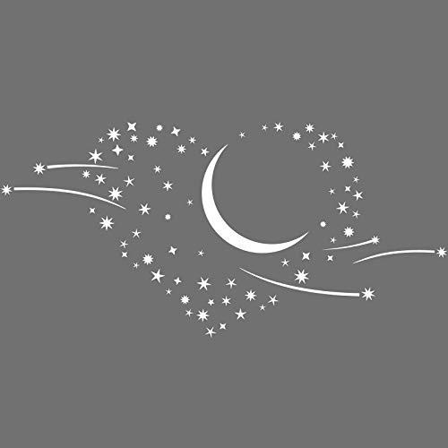 Grandora Wandtattoo Herz Mond Sternschnuppen I weiß (BxH) 120 x 58 cm I Schlafzimmer Aufkleber selbstklebend Wandsticker Wandaufkleber Sticker 1011W
