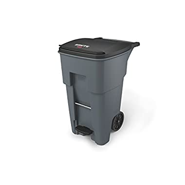 Rubbermaid Commercial 1971968 Brute Step-On Rollout Trash Can, 65 gal/246 L, 44.740  Height, 25.330  Width, Gray