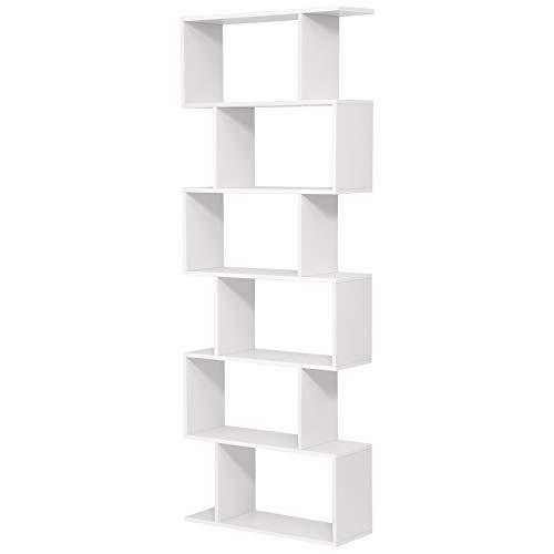 VASAGLE Libreria in Legno, Scaffale a Ripiani e Divisore d'Interni, Mobile Guardaroba Contemporaneo Decorativo Autoportante a 6 Livelli, Bianco LBC61WT