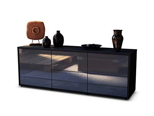 Stil.Zeit TV Schrank Lowboard Cedric, Korpus in anthrazit matt/Front im Hochglanz-Design Grau Graphit (135x49x35cm), mit Push-to-Open Technik und hochwertigen Leichtlaufschienen, Made in Germany