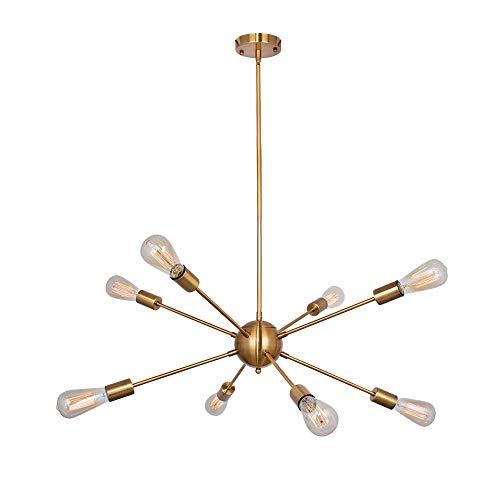 Sputnik Vintange Modern Industrial Brass Pendant 8-Light Chandelier Hanging Ceiling Light Fixture
