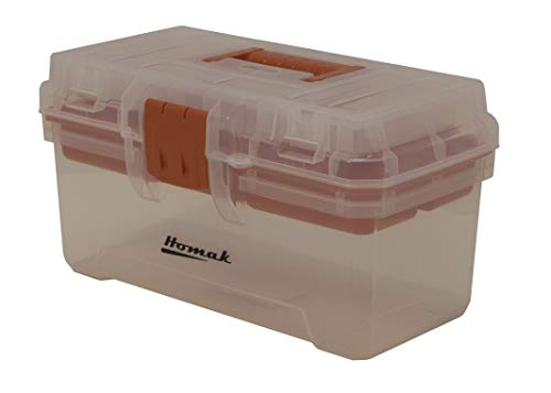 Homak 15-1/2-Inch Plastic Transparent Toolbox with Tray, TP00115088