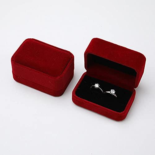 XKMY Cajas de regalo de lujo cuadrado de terciopelo para parejas, caja de joyería de almacenamiento de regalo caja de embalaje portátil de viaje de boda (color rojo vino)