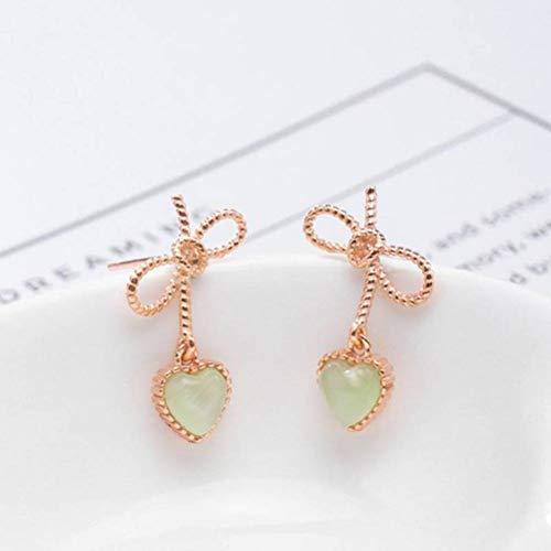 WOZUIMEI Eardrop Earring S925 Silver Bow-Knot Love Stud Earrings Women 's Natural Material Opal Gold-Plaqué Craft Earringspapillon, Argent 925