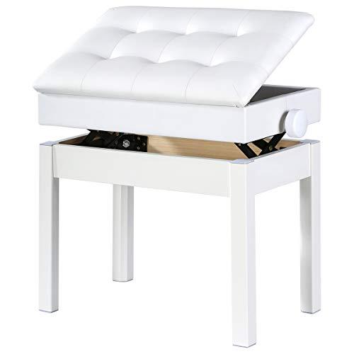 Doubleblack Banco Piano Banqueta Silla Regulable para Teclado con Almacenamiento Ajustable Altura Cojín de Piel Sintética Asiento Pies Madera Maciza, Blanco