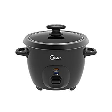 Midea 3-Cup (Cooked),1.5 Cup (Uncooked) Small Rice Cooker with Food Steamer (MRC173-B), Black