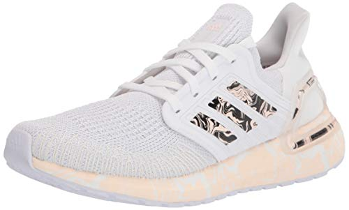 adidas Women's Ultraboost 20 Glam Pack Running Shoe, White/Pink Tint/Black, 10