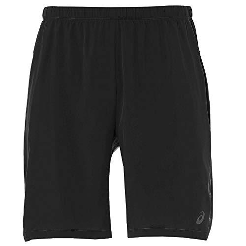 ASICS - Pantalones Cortos para Hombre (2 en 1, 7'), Hombre, Color Negro/Blanco, tamaño S (46 EU)