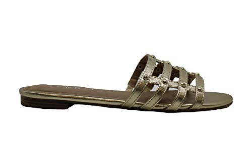 Esprit Womens Kylee Peep Toe Casual Slide Sandals, Gold, Size 6.5
