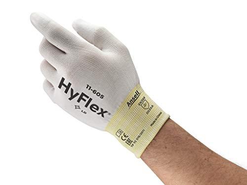 Ansell HyFlex 11-605 Guanto Multiuso, Protezione Meccanica, Bianco, Taglia 8 (12 Paia)