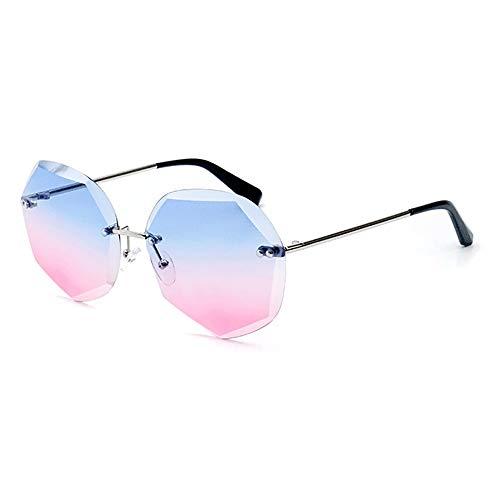 Bradoner Europe And America - Gafas de sol con corte de cristal para mujer, poligonal, lente azul, protección UV400, marco plateado