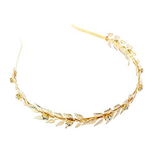Lurrose Hoja de Oro Corona Diadema Rhinestone Corona para El Cabello Flor...