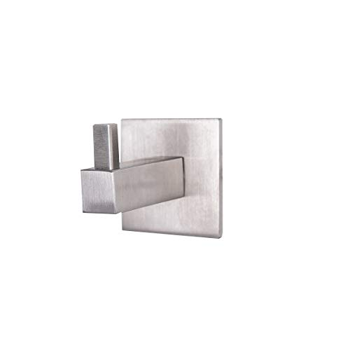 Mantelhaken MS Beschläge Wandhaken eckiger Kleiderhaken Edelstahl matt gebürstet Handtuchhaken Handtuchhalter massiver Garderobenhaken (55 mm)