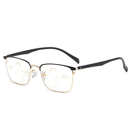 HQMGLASSES El Bloqueo progresivos Multi-focales fotocromáticas Gafas de Lectura de los Hombres Azules claros, 1,56 Lente asférica / UV400 Gafas de Sol al Aire Libre dioptría +1,0 a +3,0,Oro,+1.0