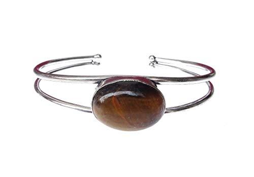 India Jewel Store Tigerauge Edelstein 925 Sterling Silber plattiert Mode Manschette Armband für Frauen Mädchen handgefertigt einzigartiges feines Design Tribal Boho Armreif von indischen Handwerker