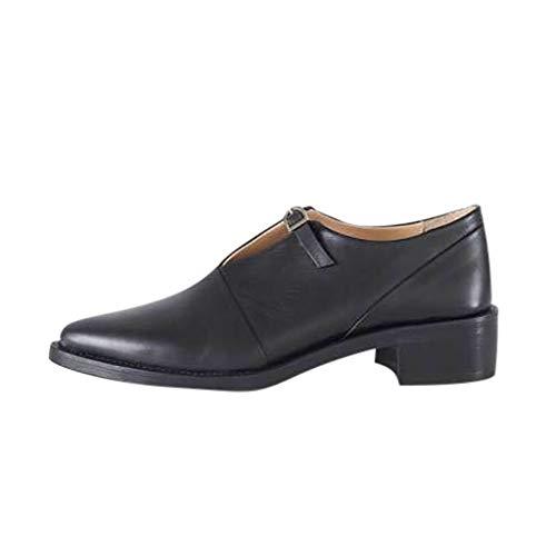 HWTOP Damen Vintage Britische Stil Singles Schuhe Dicke Schnalle Mid Ferse Wilde Nähen Kleine Lederschuhe, Schwarz, 38 EU