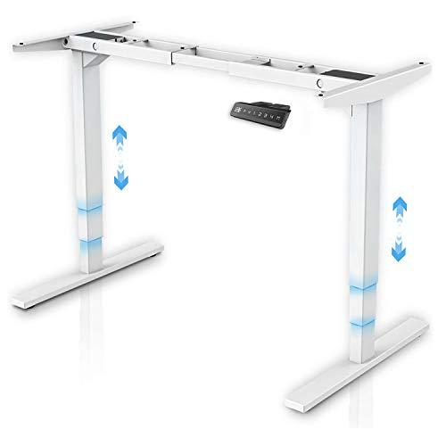 MAIDeSITe Höhenverstellbarer Schreibtisch Rahmen 2 Motor Tischgestell höhenverstellbar mit Kollisionschutz Schreibtisch höhenverstellbar elektrisch Stehschreibtisch mit 3-Bühne Hebe Beine(Weiß)