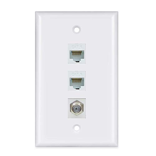2 Ethernet and 1 Coax Wall Plate - Coax Cat6 Ethernet Wall Plate Female to Female with 2 Ethernet Port + 1 Coax F-Type Connector