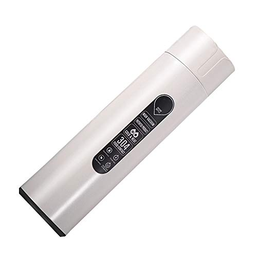 Pannow Smart Wasserflasche, 420 ml, Edelstahl, vakuumisoliert, LCD-Touchscreen, Temperaturanzeige, Trink- und Ablaufwasser-Erinnerung weiß