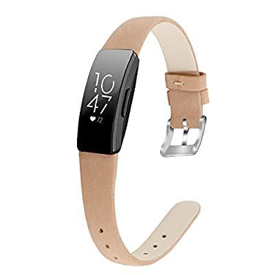 """MEFEO Compatible with Fitbit Inspire Bands/Inspire HR Band, Genuine Leather Slim Soft Strap Wristbands Accessories Replacement for Fitbit Inspire Fitness Tracker (Frosted Brown, Small (5.8""""-7.6""""))"""