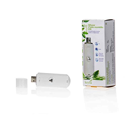 AROFLORA - Keylia - Diffuseur d'Huiles Essentielles - Par Ultrasons - Avec Port USB - Coloris Blanc