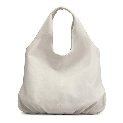 AUSTARK Womens Hobo Handbag Cotton Canvas Shoulder Bag Multi-pocket Tote Bag Casual Daily Top Handle Purse (White)