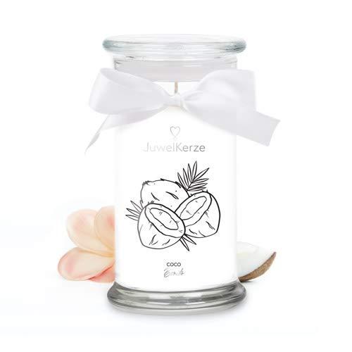 JuwelKerze 'Coco Bonito' (Armband) Schmuckkerze große weiß Duftkerze 925 Sterling Silber, besetzt mit edlen Swarovski Kristallen - Kerze mit Schmucküberraschung als Geschenk für sie