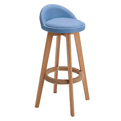 MTCGH Stühle, Hochstühle, Barstühle, Hocker Modern Style Bar Hocker Esszimmerstühle Schwenkhöhe Fußstütze Küche Zähler Frühstück Kaffee Weich Komfortabel,Blau,78 cm