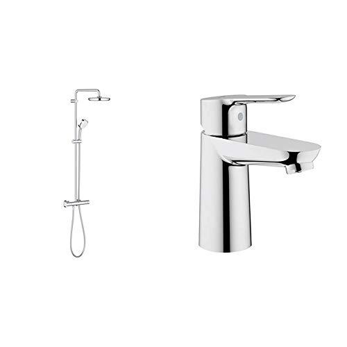 Grohe Tempesta Cosmopolitan 210 - Sistema de ducha con termostato + BauEdge - Grifo de lavabo de baño para instalación en un solo agujero. Tamaño S. Incluye sistema de ahorro de agua