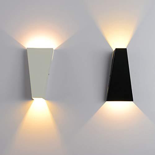 JXILY Lámpara De Pared De Lámpara De Pared, Pared LED, Iluminación Decorativa De Yeso En Forma De Abajo, Sala De Estar Y Dormitorio Interior (2 Paquetes De Blanco + Negro),Warm White