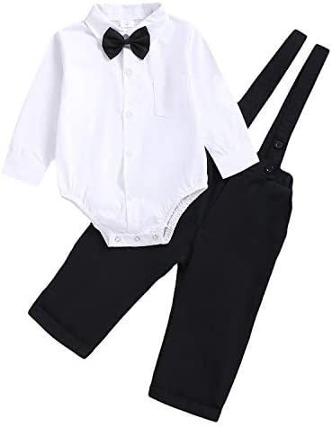 Baby Boys Gentleman Outfit Set Infant Plain Shirt Bowtie Suspenders Pants for Toddler Casual product image