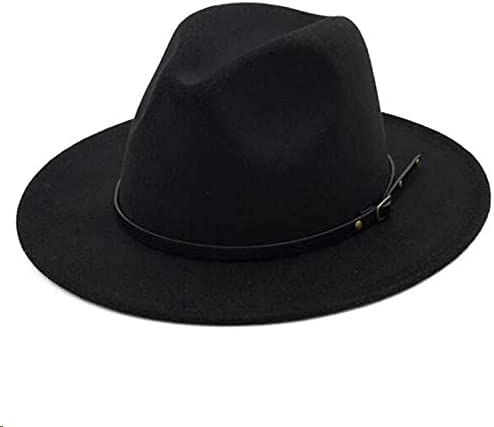 Kids Fedora-Hats Girls Vintage Wide Brim Felt-Bowler-Cap Belt-Fedora-Hat