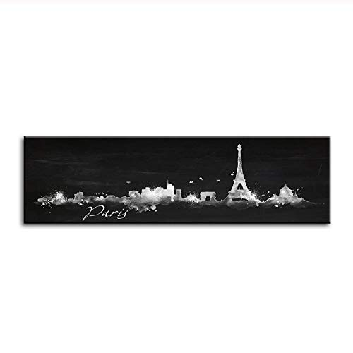 Hd Printed Pictures Wall Art, 1 Piece Paris Skyline Abstract Black White Painting Watercolor City Poster Living Room Decor -45X120Cm - Unframed