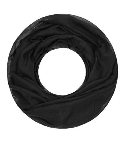 Majea Loop Cary Basic Schal Tuch Damen-schal Schlauchschal Rundschal Halstücher uni unifarben Loopschal einfarbig (schwarz 1)