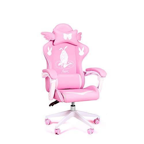 CWW Racing Gaming Stuhl Bürostuhl Ergonomisch Sportsitz Höhenverstellbarer Computerstuhl Chefsessel Schreibtischstuhl Mit Kopfstützen Verstellbaren Armlehnen Rosa