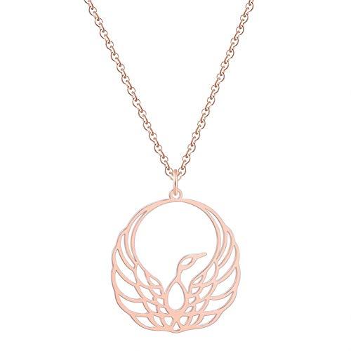 HAOJIUBUJIAN Trendige Minimalistische Tier Phönix Anhänger Halskette Geometrische Origami Fliegen Vogel Kette Halskette Geburtstag Schmuck Geschenke